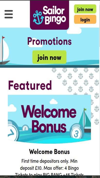 Sailor Bingo promo mobile