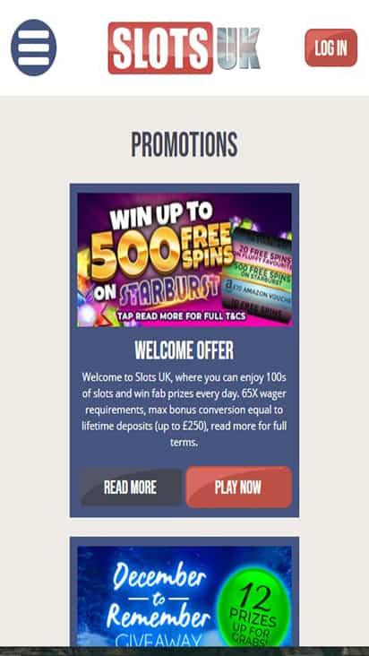 Slots UK promo mobile