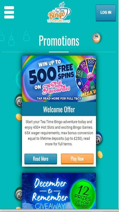 Tea Time Bingo promo mobile
