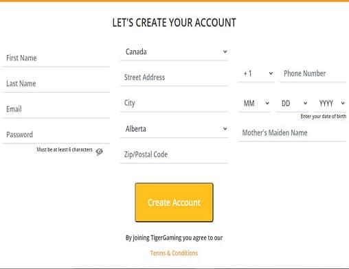 Tiger Gaming signup