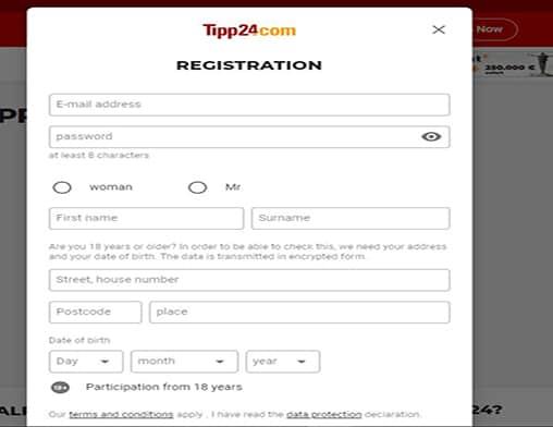 Buzz Bingo sign up page