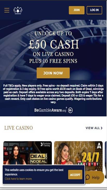 UK Casino home mobile