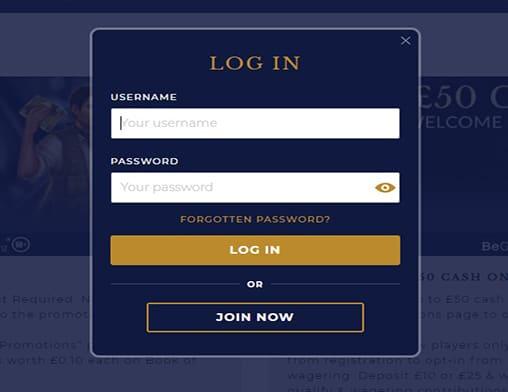 Pink Casino login page