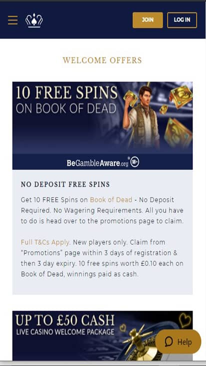UK Casino promo mobile