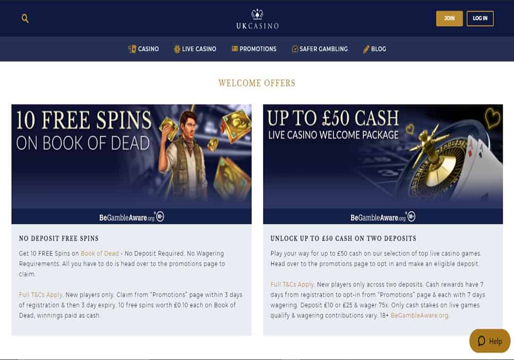 Pink Casino promotions page