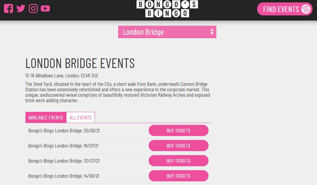 bongo's bingo event ticket