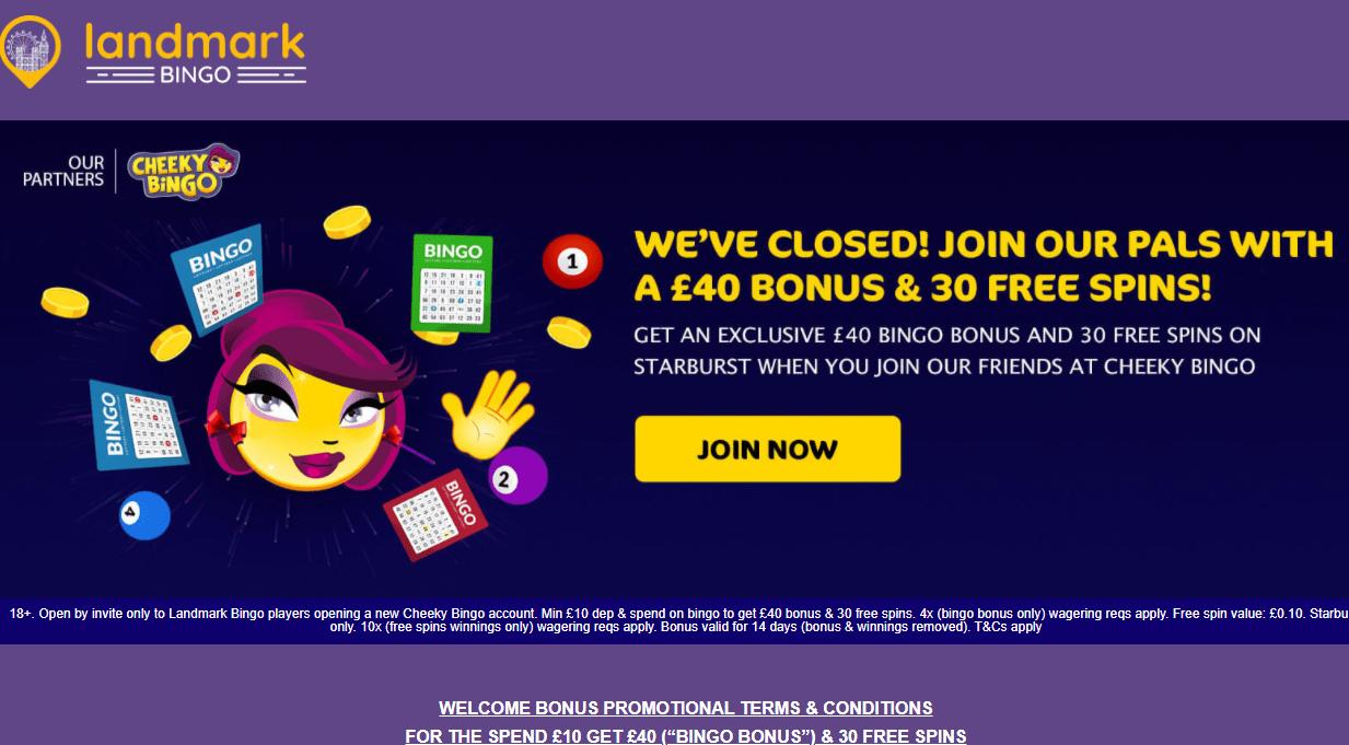 landmark bingo home closed redirect to cheeky bingo