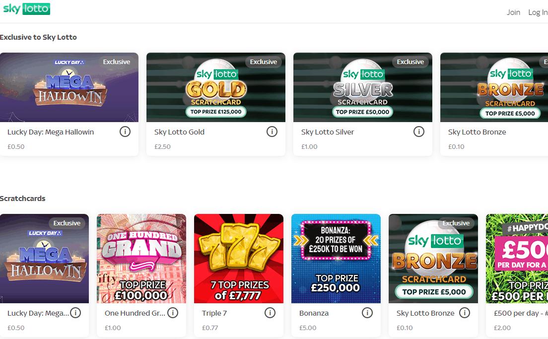 sky lotto games