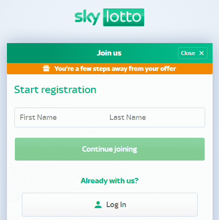 sky lotto sign up