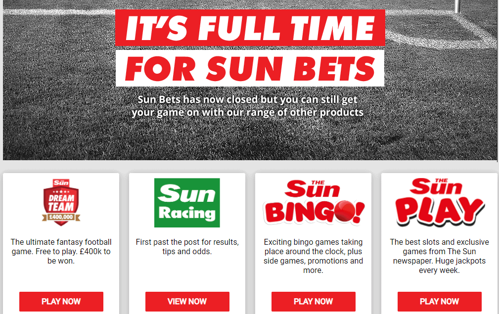 sun bets home closed NA