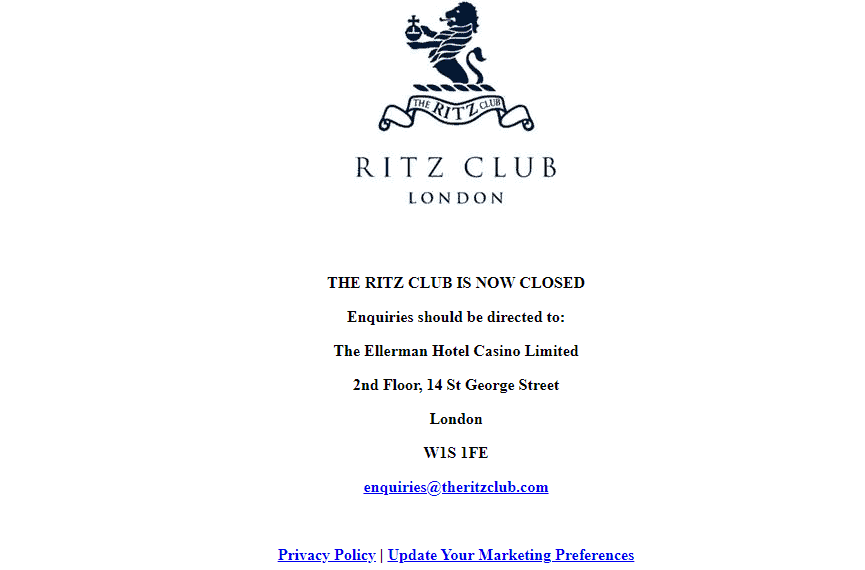 the ritz club home closed NA