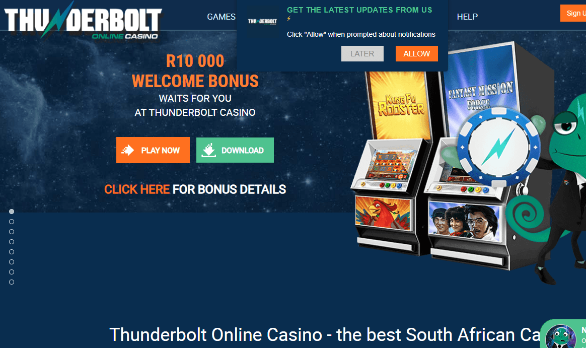 thurder bolt casino home
