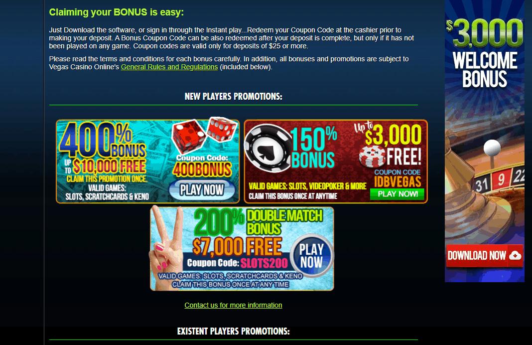 vegas casino online promotions