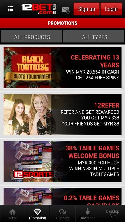 12-Bet Promotions Page