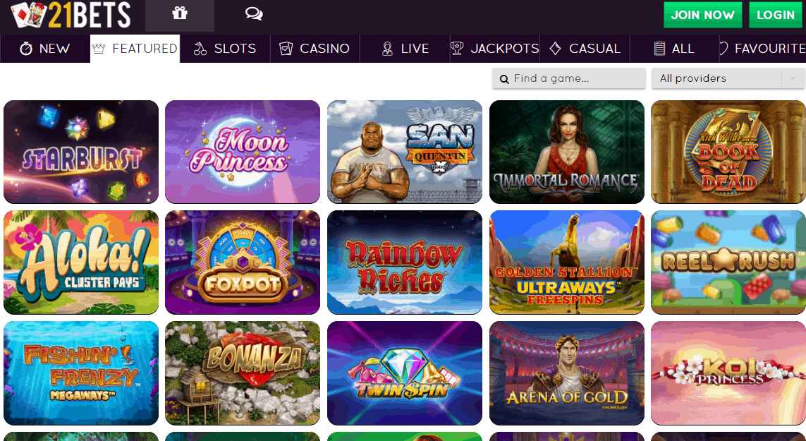 21 bets casino games