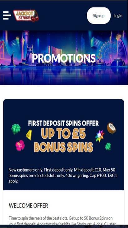 Jackpot Strike promo mobile