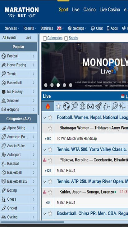 Marathon Bet home mobile