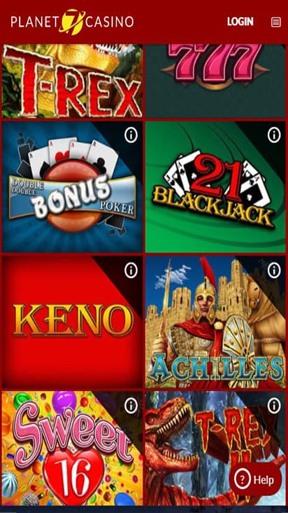 Planet 7 Casino game mobile