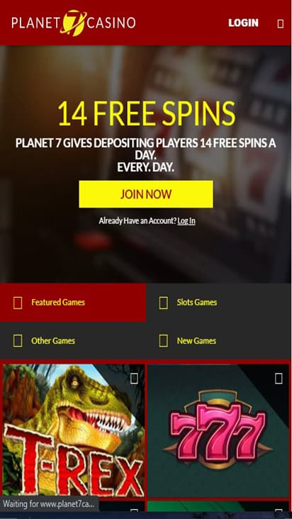 Planet 7 Casino home mobile