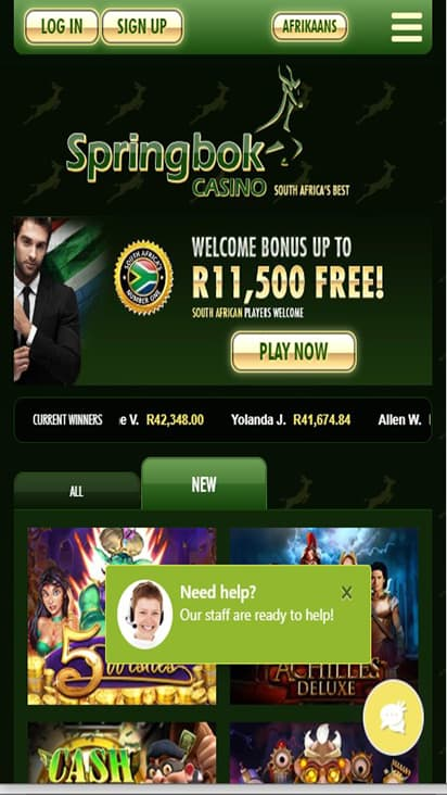 Springbok Casino home mobile