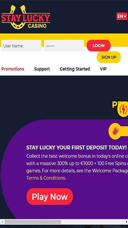 Stay Lucky Casino promo mobile