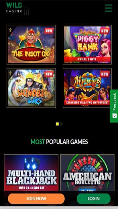 Wild Casino game mobile