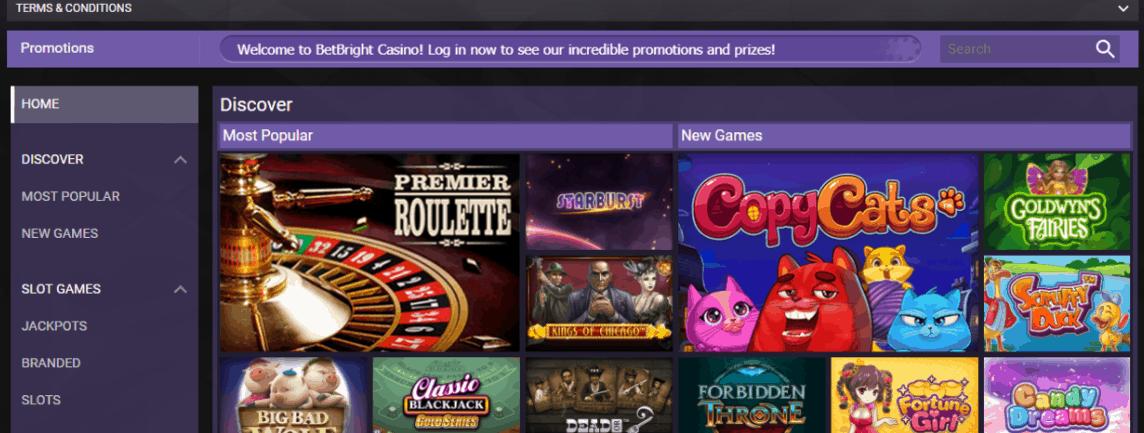 bet bright casino games