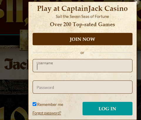 captain jack casino login