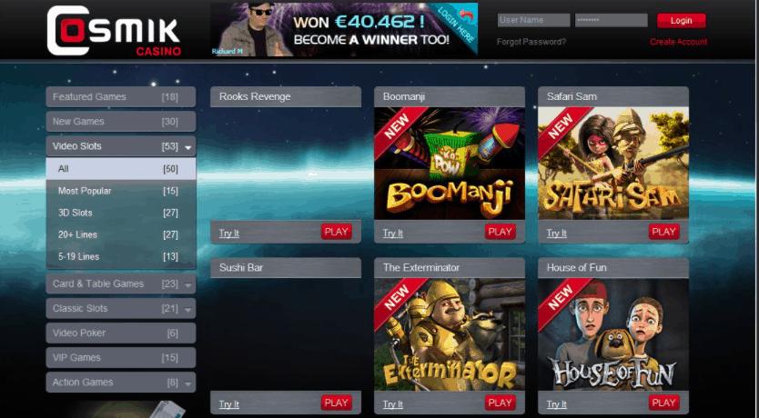 cosmik casino games