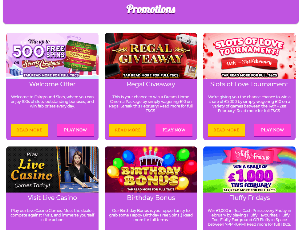 fair ground slots promotions
