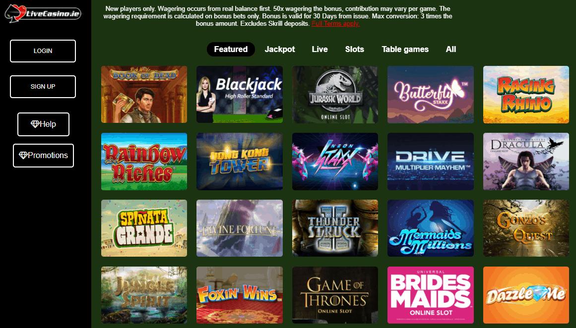 livecasino.ie games
