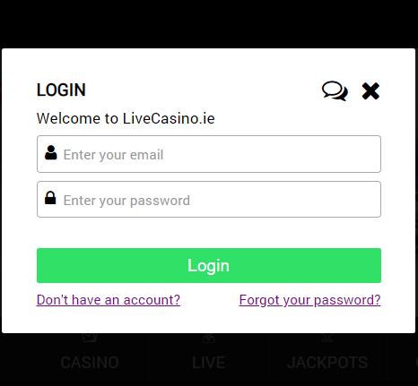 livecasino.ie login