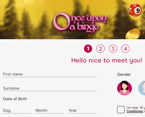 once upon a bingo sign up