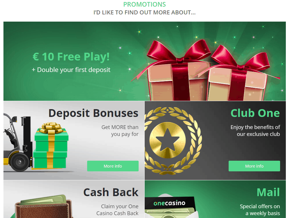 one casino promotions
