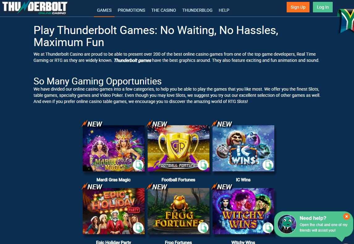 thunder bolt casino games