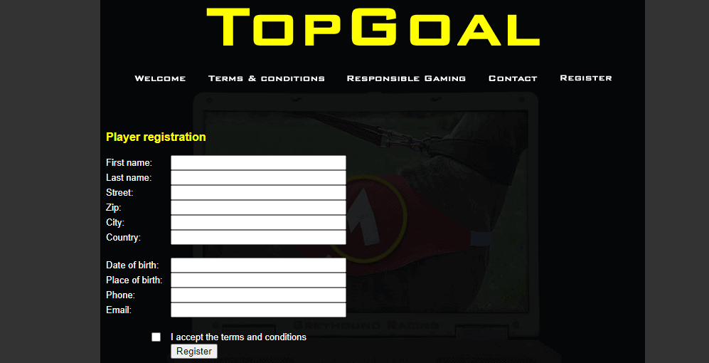 top goal online register