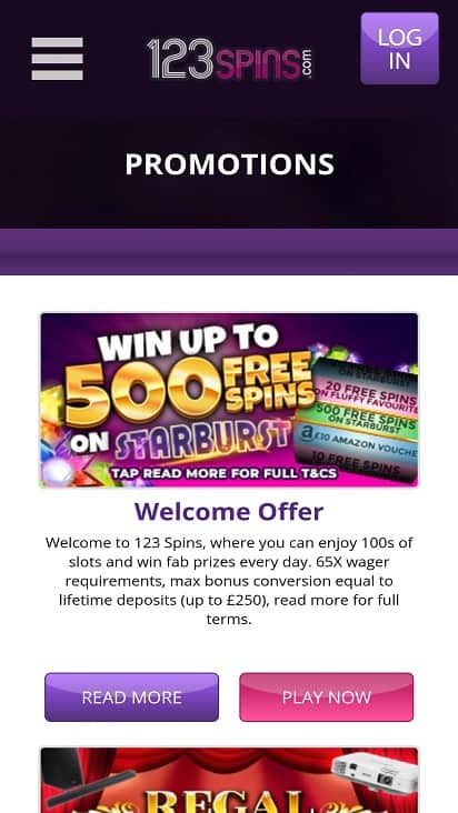 123-Spins Promotions Page