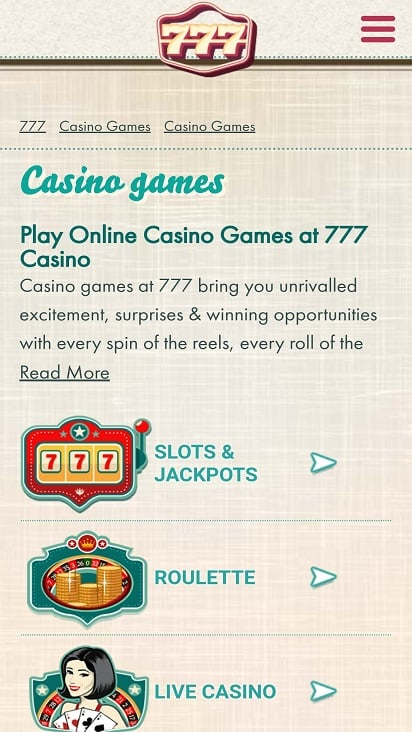 777 Casino Games Page