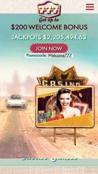 777 Casino Home Page