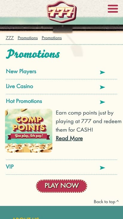 777 Casino Promotions Page