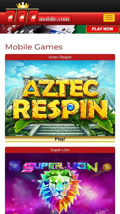 777 Mobile Games Page