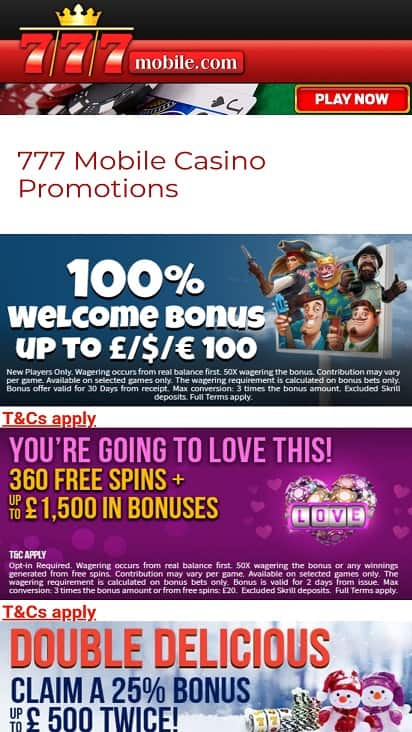 777 Mobile Promotions Page