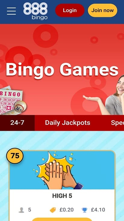 888 Bingo Home Page