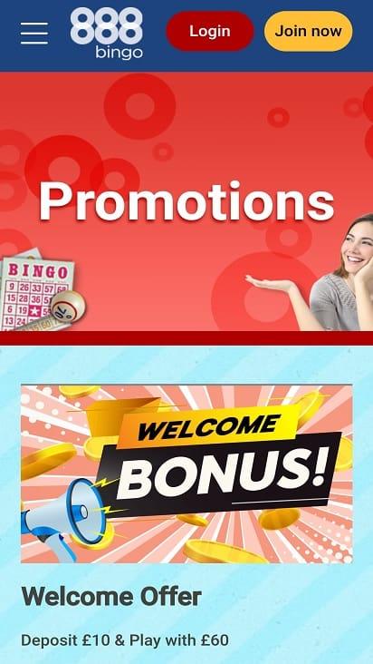 888 Bingo Promotions Page