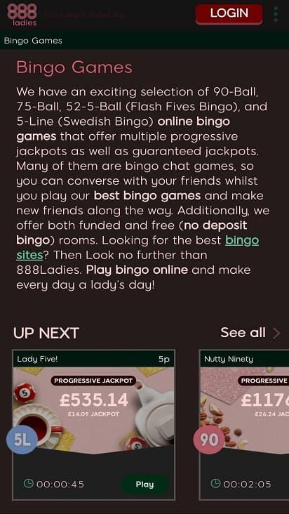 888 ladies Games page
