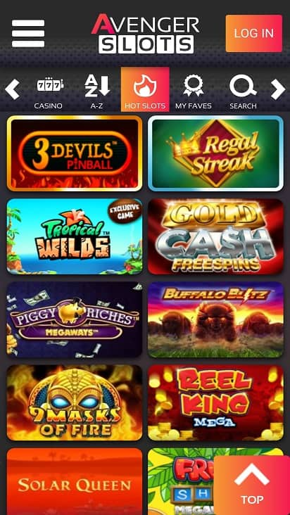 Avenger slots Games page