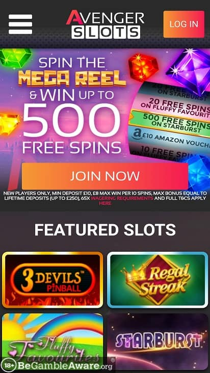 Avenger slots home page