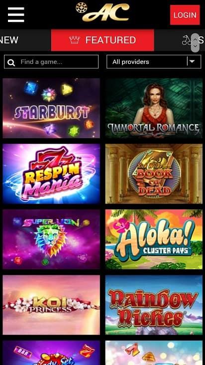 Azimut Casino Games page