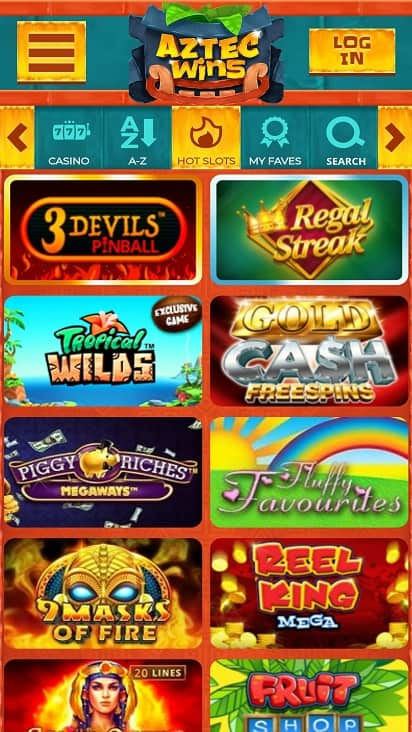 Aztec casino Games page