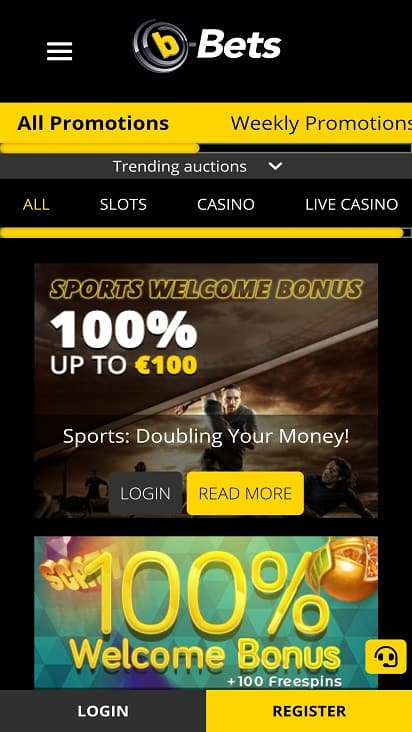 B-bets Promotions page